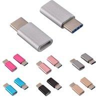 conectores macho micro usb al por mayor-USB 3.1 Tipo-C Macho a Micro USB Hembra Convertidor Micro USB Conector USB-C Adaptador para Huawei P9 Oneplus 2 Xiaomi para Samsung