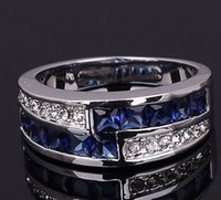 Wholesale Sterling Silver Womens Rings Gemstones - Wholesale Halo AAA Blue Sapphire Fashion 925 sterling silver Wedding Ring Womens Gemstone Promise Couple Ring