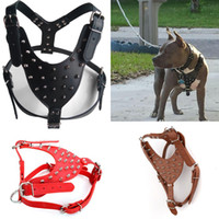 Wholesale High Quality Leather Dog Harness - Large Dogs High Quality PU Leather Harness with Rivets Domineering Cool for Pitbull
