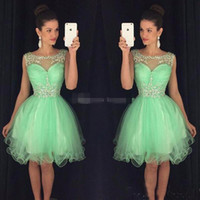 Wholesale Beaded Chiffon Mini Dress - 2017 Mini Short Homecoming Dresses Crystal Beaded Sweet 16 Graduation Dresses Little Chiffon Short Cocktail Dress Prom Party Dresses