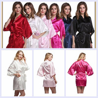 Wholesale Cardigan Pajamas - 20 kinds of imitation silk pajamas pure color bathrobes cardigan rituals bridesmaid dress bathrobe hot spring party stockings pajamas YYA265