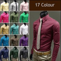 Wholesale Casual Dress Shirt Colours - Fashion Mens Luxury Stylish Casual Dress Slim Fit T-Shirts Casual Long Sleeve 17 Colours, suitable for yourself, Friend,family