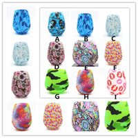 Wholesale Water Bottle Lid Straw - ship 1 day free straw egg 9 colors Camo bottle drinkware Silicone Wine Glasses Cup Skull Bubble Water Bottle Beer Whiskey Glass