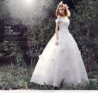 Wholesale Organza Wedding Gloves - 2018 Garden Elegant Crystals Lace Organza Wedding Dresses Ball Gown With Petticoat Bridal Dresses + Veil And Gloves