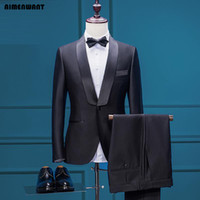 Wholesale tailored made dress pants - Wholesale- AIMENWANT Mens Jacket+Pants Set Custom Made Tuxedo Dress Suits Black Slim Fit Tailor Prom Suit with Pants Grooms Wedding Blazer