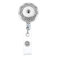 8.5x3.3cm 2 Styles Silver Trend Fashion ID Badge Holder Interchangeable Snap Button Reel Clip Broche Nom Tag Holder N172S