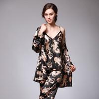 Wholesale Ladies Three Piece Pajamas - 2017 New Spring Autumn Silk Sleepwear Suit Summer Women Luxury Satin Pajamas Set & Sleepcoat Three Piece Set Ladies Sexy Pyjamas