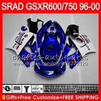 Wholesale Suzuki Gsxr Srad - 8 Gifts 23 Colors For SUZUKI SRAD GSXR750 GSXR600 96 97 98 99 00 5HM16 gloss blue GSX R600 GSXR 600 750 1996 1997 1998 1999 2000 Fairing Kit