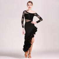 latin-stil kleider großhandel-2018 neue Art Spitze Frauen Latin Kleid Latina Tanzkleid Samba Salsa Kleid Fransen Latin Dance Kostüme für Frauen sexy Tango Kleider