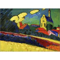 Wholesale Kandinsky Abstract Paintings - Abstract modern art Murnau - Landscape with Church-Wassily Kandinsky oil paintings Canvas hand-painted