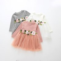 Wholesale Embroidered Baby Clothes - 2017 Autumn Baby Girls Dresses Embroidery Knitted Cotton long sleeve Dress Children Clothing 1-4T A031