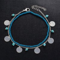 BYSPT 2017 Vintage Antique Silver Color Anklet Mulheres Turquoise Beads Bohemian Ankle Bracelet cheville Boho Foot Jewelry