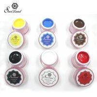 Wholesale black nail paint - Wholesale-Saviland 1pcs Gel Paint Solid Pure Glitter UV Soak Off Gel Paint Set Nail Art Esmalte DIY Professional Nails Gel