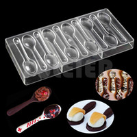 Wholesale Chocolate Sweet Moulds - Spoon Shape Polycarbonate Chocolate Mold pastry sweet Candy Mould Plastic Baking Pc confectionery Mould Cake Decorating Tools