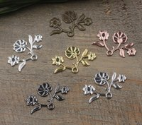 Wholesale cheap bronze necklace online - 07458 mm antique bronze silver plated rose gold gun black flower blossom charms for jewelry making cheap necklace pendant for bracelet