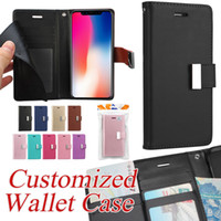 Wholesale Lg Wallet - Customized PU Leather Wallet Case For iPhone X 8 7 6S Plus Card Slot Flip Back Cover Kickstand Case For Samsung Note 8 S8 Plus