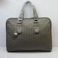 Wholesale Briefcase Portfolio Woman - Wholesale- Faux leather handbag men's portfolio briefcase bag women laptop handbags zipper closure solid color for men