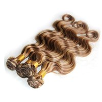 Wholesale Highlighted Remy Hair - P4 27 Piano Brazilian Body Wave Hair Weaves Cheap Human Hair Bundles Highlight Virgin Remy Hair Extensions Double Weft 10-30 inch
