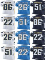 Caricatore 22 Jason Verrett 26 Casey Hayward 86 Hunter Henry Kyle Emanuel Uomo Donna Vapor giovanile intoccabile Colore Rush Elite Football Jersey