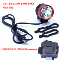 Wholesale Lumens CREE XM L T6 LED Bicycle Headlamp Headlight Waterpoof Bike Light Head Lamp Cycling USB Front Light o ring Headband