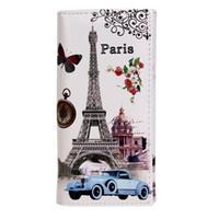 brieftasche flagge großhandel-Heiße Verkaufs-Art- und Weisefrauen-lange Mappe glatte PU-Leder Paris-Flaggen-Eiffelturm-Art-Dame Coin Purses Clutch Wallets Money Bags