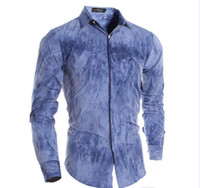 Wholesale Long Slim Polo Design - Men VSKA Brand Casual Shirts Colorful Mixing Design With Dark Placket Long Sleeve Dress Shirts For Men Cotton Slim Polo Men Shirt J160114