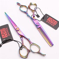 """Wholesale Thin Laser - 6"""" Kasho JP 440C Multicolor Laser Wire Human Hair Scissors Cutting+Thinning Scissors or set reguler Hairdressing shears Excellent NEW H9001"""