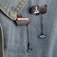 Wholesale School Jackets Wholesale - Lovely Animal Cat Fish Boat Anchor Tassel Chain Brooch Pin Women Men Chioldren Bag Clothing Jacket School Uniform Decor Accessories