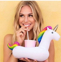 Wholesale Boat Cup Holders - Unicorn Inflatable Cup Holder Drink Floating Party Beverage Boats Phone Stand Holder Pool Toys Party Supplies SC050