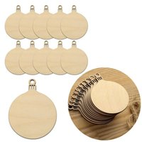 Wholesale Blank Hanging Gift Tags - 10pcs Wooden Round Bauble Hanging Christmas Tree Blank Decorations Gift Tag For Christmas Decoration