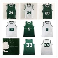 Wholesale Cheap Piercings - Top quality #5 #20 #33 #34 Bird Allen Pierce Garnett Basketball Jersey Men Sports wear embroidered Logos Cheap sports shirts