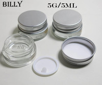 Wholesale Glass Containers Wholesale - Free shipping(DHL) - 5g high quality glass cream jar with aluminum lid,5ML wide mouth cosmetic container,eye cream cosmetic packaging