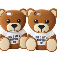 Wholesale Soft Teddy Bears Wholesalers - Teddy Bear Cartoon 3D Cover For Iphone 7 6 6s Plus Samsung Galaxy S7 S6 Edge ZTE Soft Silicone Case With OPPBAG