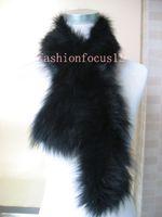 Wholesale Real Fox Fur Wrap - soft warm fashion  women's real fox fur knitted scarf  wrap  shaw BLACK
