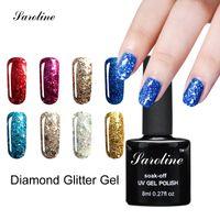Wholesale Glitter Diamond Nail Designs - Wholesale- Saroline 3D lucky Glitter Color Gel Soak Off Nail Art Design UV LED Diamond Glitter Shimmer Effect vernis semi permanent