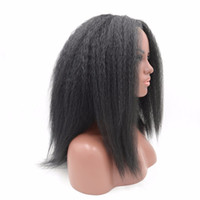 Wholesale Heat Friendly Lace Wigs - Natural Looking Kinky Straight Synthetic Wig Heat Friendly High Quality Italian Yaki Lace Front Synthetic Wigs For Black Women