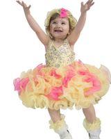 vestidos de concurso de la magdalena amarilla al por mayor-2017 Amarillo Caliente Nueva Niñas Vestidos de Magdalena Del Desfile Vestidos Tutú Infantil Halter Niño Vestido de Cristal Del Desfile