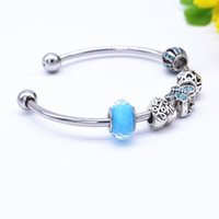 Wholesale Crystal Butterfly Cuff Bracelet - Wholesale-Plated Silver Butterfly & Heart Charm Bracelets For Women and Children Cuff Bracelets Blue Murano Glass Bead Crystal Jewelry