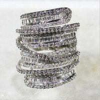 Wholesale Simulated Diamond Jewelry Sets Wedding - Luxury Pave set full Square T Simulated Diamond CZ gemstone rings jewelry Women 14K White Gold Filled Cocktail Band Rings size 5-10
