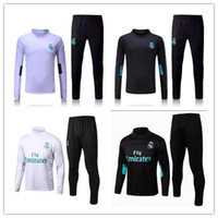 Wholesale Track Suits Jackets - HOT top Thai quality 17 18 Real Madrid soccer Tracksuit MODRIC Track suits jacket 2017 2018 Real Madrid chandal training suits sports wear