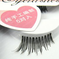 Wholesale full hair weave styles - Hot selling 5 pairs HW-G Hand-woven fine half false eyelashes naturally cross style novel HW-G 1-1.5cm