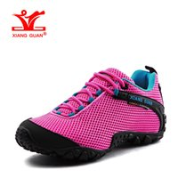 2017 Woman Mountain Sapatos de caminhada para mulheres Lycra respirável Malha Athletic Trekking Boot Peach Sports Shoe Womens Outdoor Walking Sneakers 39
