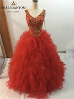 Wholesale Gold Sweet 16 - 2017 Sexy Gold Embroidery V-Neck Backless Ball Gown Quinceanera Dresses with Sequined Beading Sweet 16 Dresses Vestido Debutante Gowns BQ23