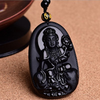 Wholesale Obsidian Zodiac Buddha - Natural Obsidian twelve zodiac Pendant Necklace natal Buddha bead necklace eight Guardian transport