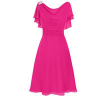 Wholesale Short Purple Bridesmaid Dresses Feathers - Cheap Chiffon Short Bridesmaid Dresses Sleeves Prom Formal Party Gowns Dresses Ruffle Wedding A-Line Dresses Knee-Length Dress Under 50