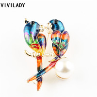 Wholesale Bird Accessories Wholesale - Wholesale- VIVILADY Hot Breastpin Enamel Rhinestone Imitation Pearl Parrot Birds Brooches Corsage Pins Femme Sweater Bijoux Accessory Gifts