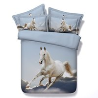 Wholesale King Bedspread New - Wholesale- *S New Tencel 3D horse print bedding sets cal king size white horse bedspread twin quilt cover for single bed sheets