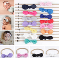 Wholesale Nylon Elastic Ribbon - INS Baby Nylon Headbands Bunny Ear Elastic Headband Children Kids Hair Accessories Fashion Hairbands Baby Girls Nylon Bow Headwear Headdress