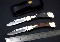 Wholesale Buck Lock Blade Knife - buck 110 survival knife Wooden handle folding monoblock brass 2 locks automatic Tactical knife 2 styles hunting knife