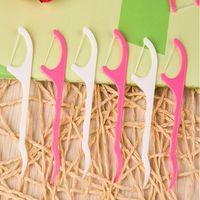 palitos de dente encerados venda por atacado-Novo Design Palito De Plástico Palito de Dentes Dentais Palitos de Dentes Encerados Vara Flossers Espada Oral Care 25 Pçs / set 7.8 * 2 CM